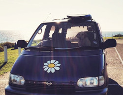 hippy motors dog in camper van daisy sticker