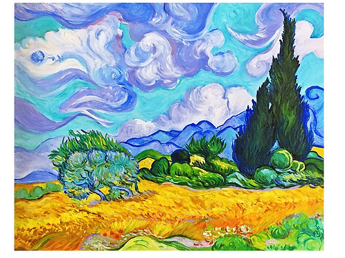 A Wheatfield with Cypresses 40 x 50 cm