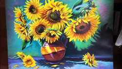 Sunflowers oil painting. Video