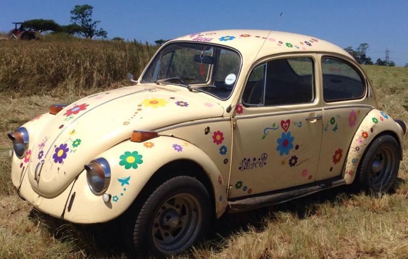 Hippy motors funky fab VW beetle car flower stickers decals vinilos