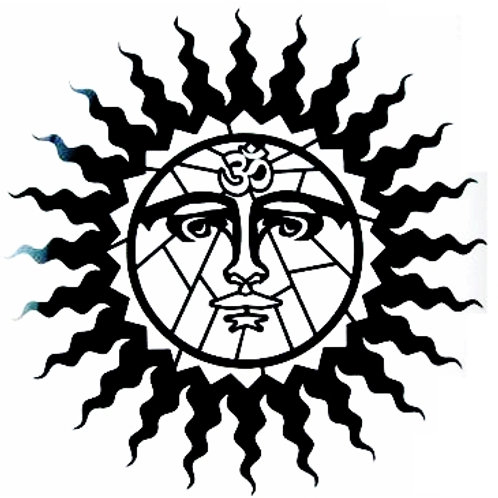 Sol con el símbolo Om 1 color