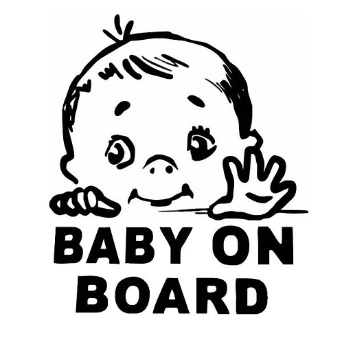 Bebé a bordo con la mano. Baby on board with hand