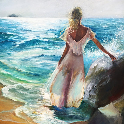 Woman looking out to sea 40 x 50 cm