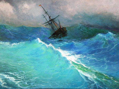 A Ship in the stormy sea 30 x 40 cm