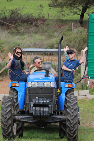 Teachers on a tractor