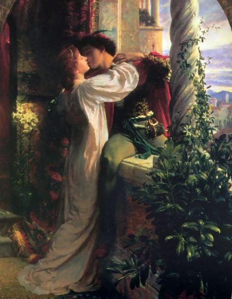 Romeo and Juliet (1884), di Frank Dicksee. Scena del bacio sul balcone, un attimo prima di separarsi.
