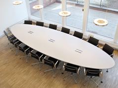Bespoke Elliptical Table + Aluminium Chair EA 108