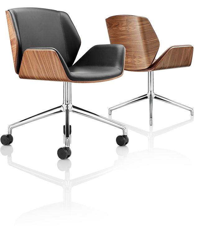 Boss Kruze Chair in black leather and walnut