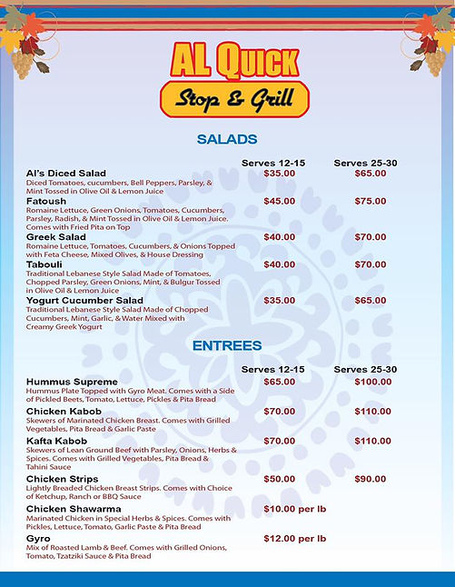 AL Quick Stop catering menu