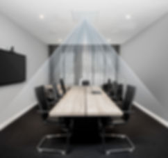 Meeting room with ClearOne BMA CT Beamforming microphone | AudeoNet