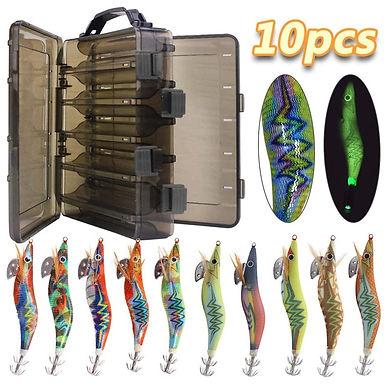 10pcs/Box Luminous Squid Fishing Bait Hooks Wooden Shrimp Jigs  12g 15g