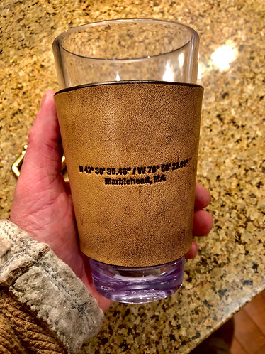 set of 6 Poly-Carbonate Leather Wrapped Beer Tumbler
