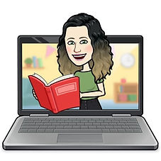 bitmoji Fernanda Paz, um computador com um emoji saindo dele com livro na mão higiene natural