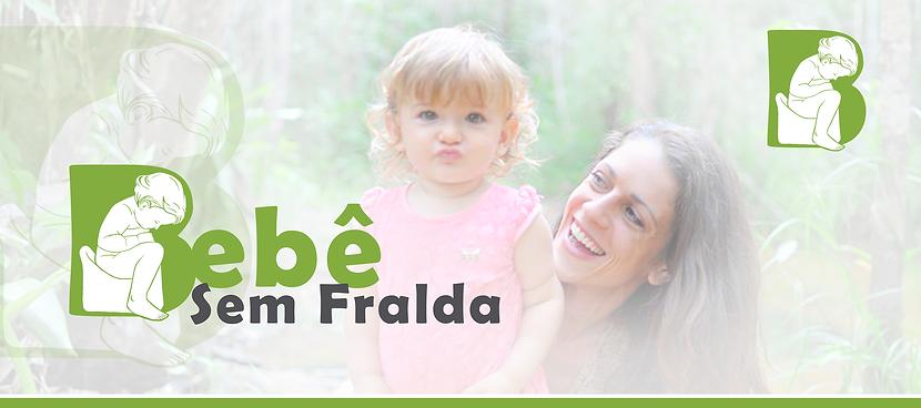A imagem contem a logo marca do bebê sem fralda com uma foto ofuscada ao fundo de Fernanda e Serena Paz Higiene Natural Brasil