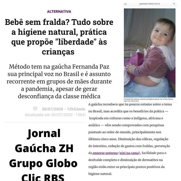 Fernanda Paz no Jornal Gaúcha ZH, Grupo Clic RBS, Caderno Donna Maternidade Higiene Natural