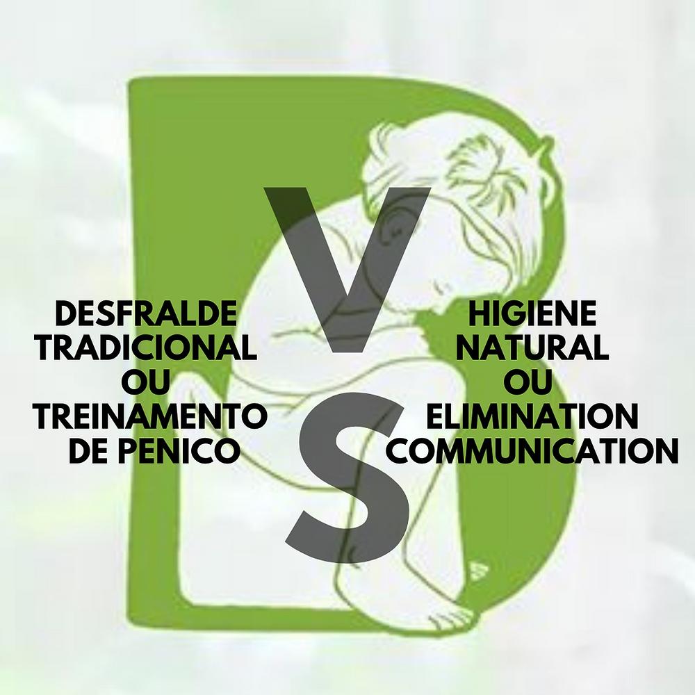 """Logo do Bebê sem Fralda (um B verde com um bebê no penico dentro do B) com as escritas """"desfralde tradicional  ou treinamento de penico Versus Higiene Natural ou elimination communication"""