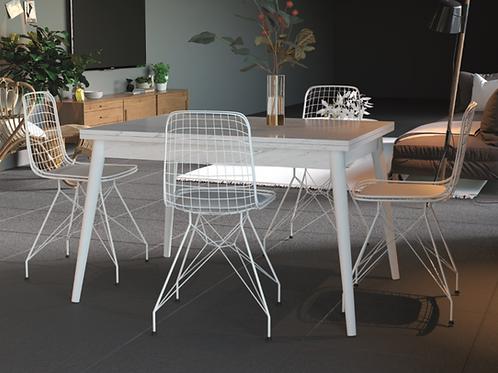 Adwan Masa ve 4 adet tel Sandalyeli Takım White