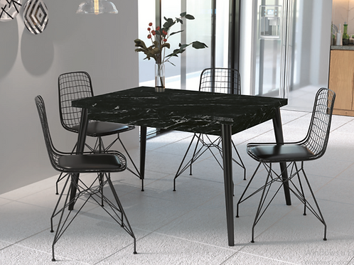Adwan Masa ve 4 adet tel Sandalyeli Takım Black