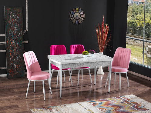 BEDİA MASA VE SANDALYE TAKIMI E + 4 veya 6 Sandalye Seçeneği, Salon, Mutfak