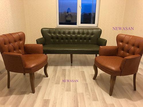 Bedia DERİ Çay Seti koltuk takımı üçlüsü 150 cm dir (Balkon, Salon)