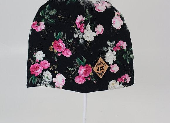 Tuque de coton / Fleurit noir & rose