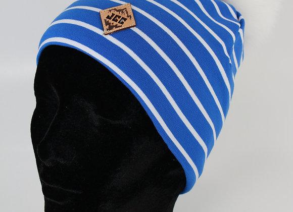 Tuque de coton / Lignée bleu et blanc