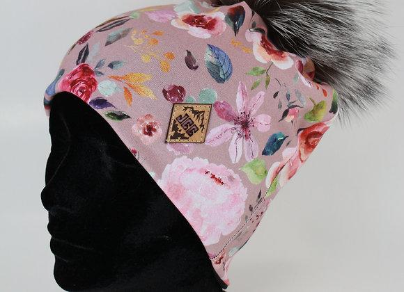 Tuque de coton / Fleurit vieux rose