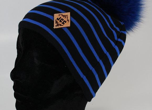 Tuque de coton / Ligné noir et bleu