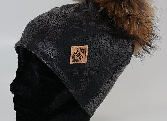 Tuque de coton / Cuirette noir