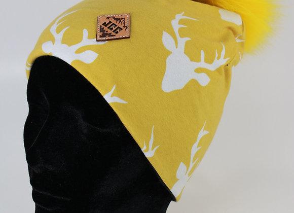 Tuque de coton / Tête de chevreuil jaune