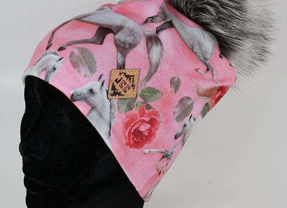 Tuque de coton / Chevaux rosé