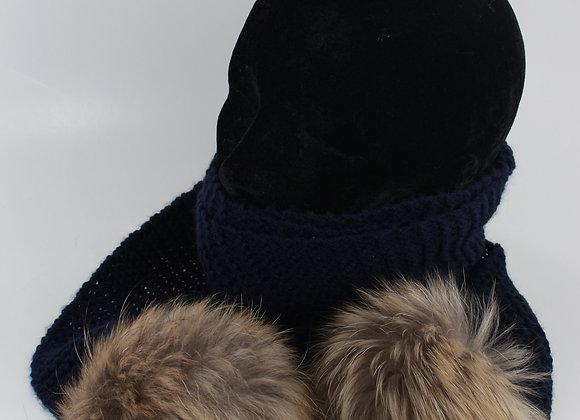 Foulard en tricot avec pompon /Bleu marin