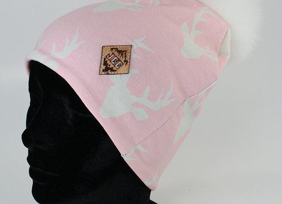 Tuque de coton / Tête de chevreuil rose