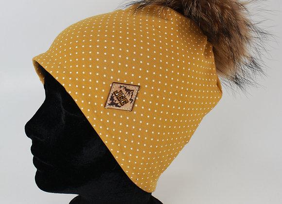 Tuque de coton / Pois jaune