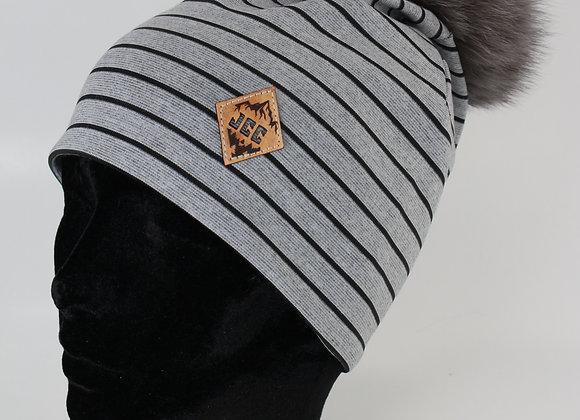 Tuque de coton / Lignée grise et noir