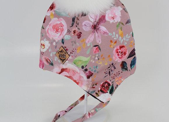 Tuque avec oreille / Vieux rose fleurit