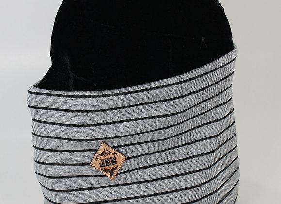 Cache-cou / Ligné noir & gris