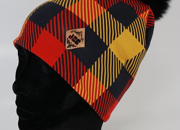 Tuque de coton / Carreauté rouge et jaune