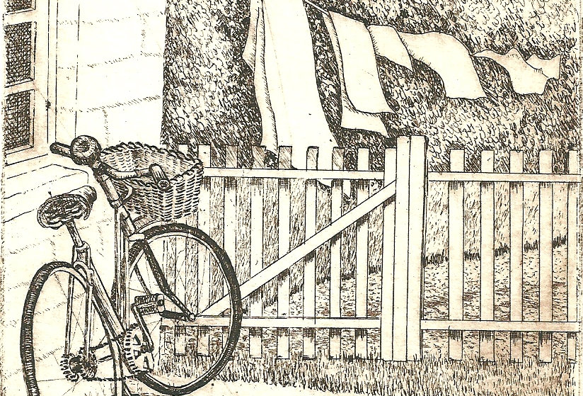 An etching of a bicycle and a garden fence