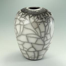Naked raku vase with incised decoration