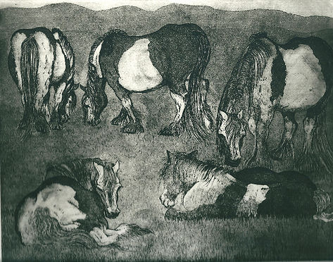 An original etching of a group of horses