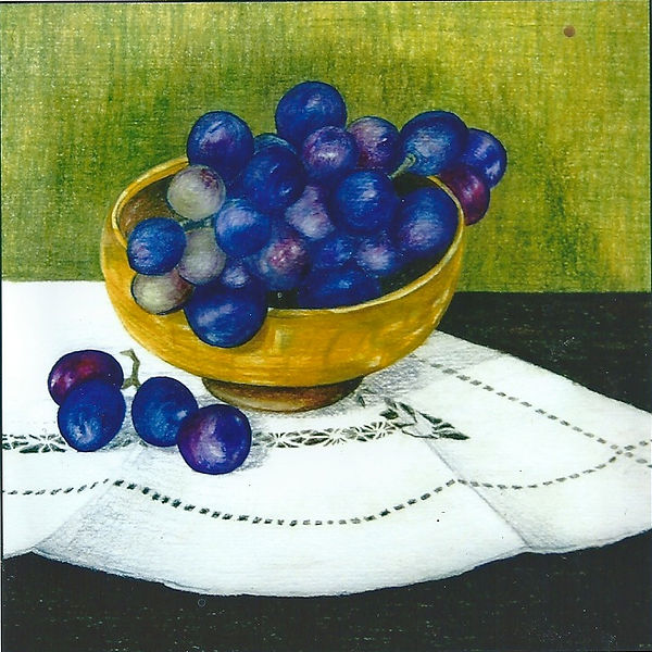 A limited edition giclee print from an original drawing of a bowl of grapes