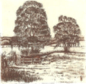 An etching of the River Wey at Bentley in Hampshire