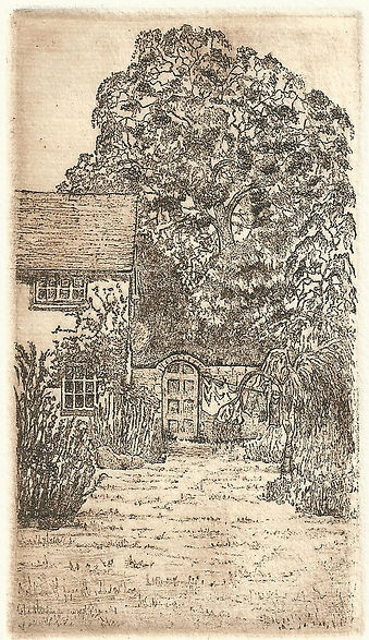 An etching of a cottage garden