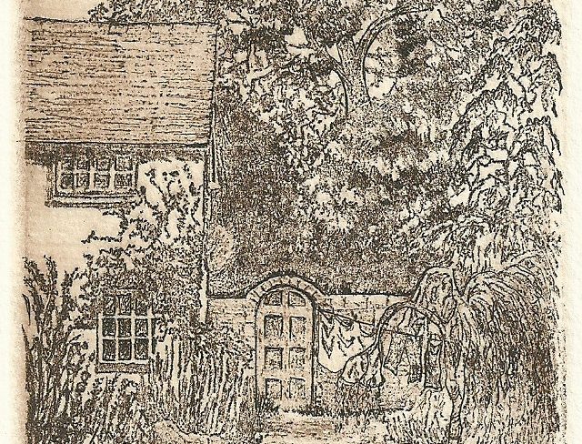 Etching of a Cottage Garden