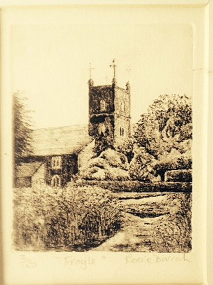 An etching of Froyle Church in Hampshire