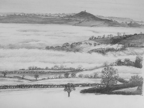 A view of Glastonbury Tor in the mist