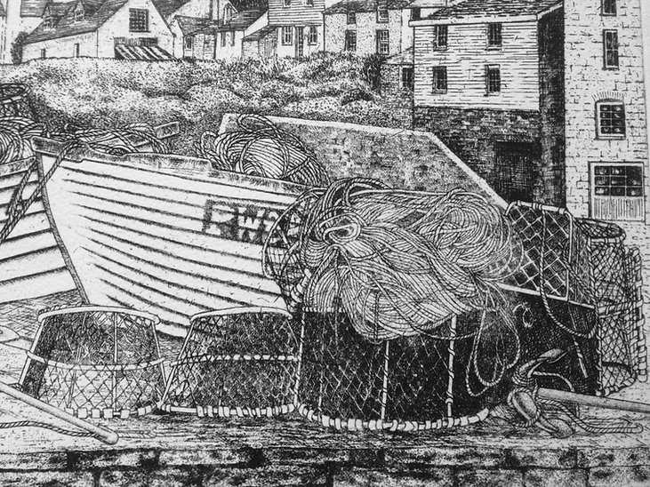 Original etching of Port IsaacPort