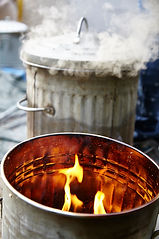 Raku reduction in fire bin