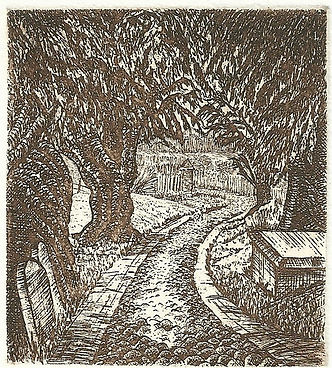 An etching of a the church path at St Mary's church in Bentley Hampshire